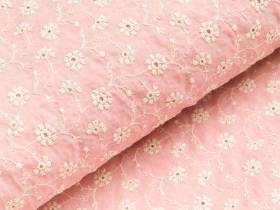 Gewebter Baumwollstoff  mit Lochstickerei - Blumen - rosa