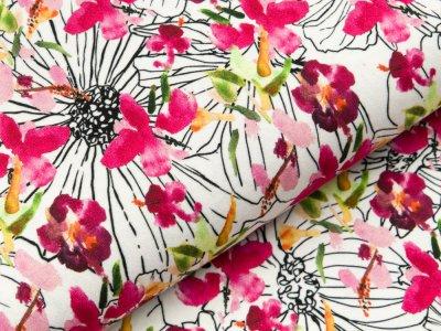 Viskose Jersey - verschiedene Blüten - weiß