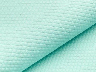 Doubleface Jersey Rautenstepper Quilt mit Lurexglitzer - uni aqua