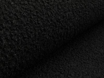Bouclé Mantelstoff - uni schwarz