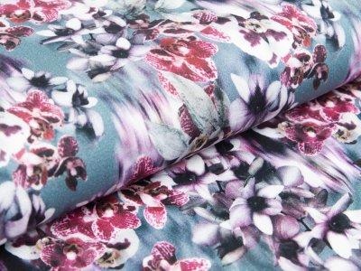 Viskose-Jersey Digitaldruck - Orchideen - petrol