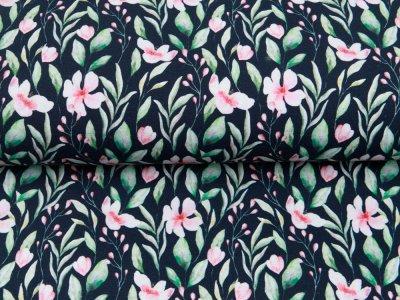 Sweat French Terry Digitaldruck by Poppy - Blumen und Blätter - navy