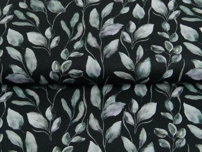 Canvas Digitaldruck - Blätterzweige - schwarz