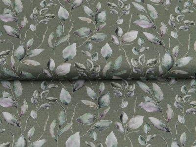 Canvas Digitaldruck - Blätterzweige - helles olive