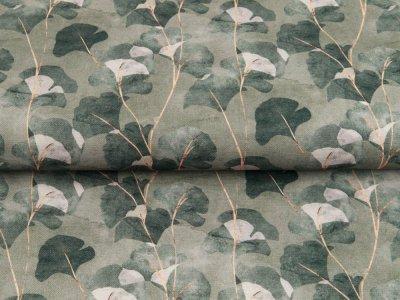 Canvas Digitaldruck - Ginkgoblätter - moosgrün