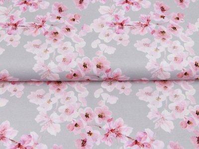 Canvas Digitaldruck - Kirschblüten - beige