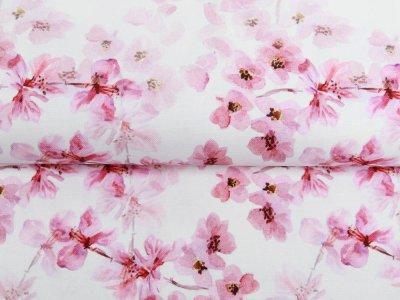 Canvas Digitaldruck - Kirschblüten - weiß
