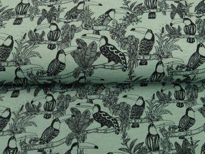 Angerauter Sweat Melange by Poppy - tropische Vögel - meliert altmint