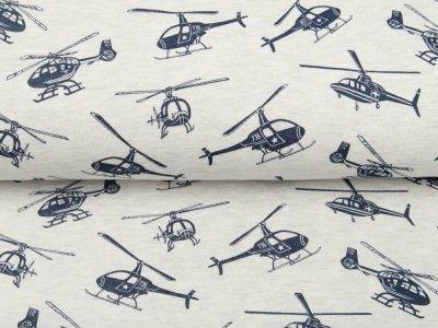 Leicht angerauter Sweat Melange by Poppy - Helikopter - meliert ecru
