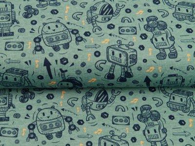 Jersey Melange by Poppy - Roboter - meliert mint