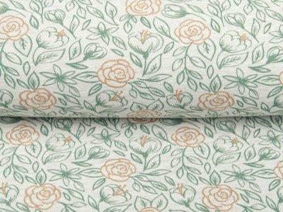 Angerauter Sweat Melange by Poppy - Rosenblüten - meliert beige