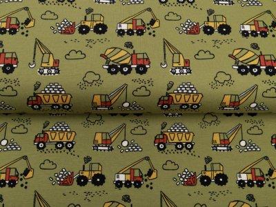 Sweat French Terry Digitaldruck by Poppy - verschiedene Baufahrzeuge - olive