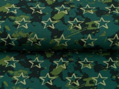 Leicht angerauter Sweat Softtouch by Poppy - Sterne auf Camouflage - grün
