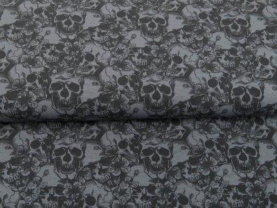 Jersey GOTS SKULL - geblühmte Totenköpfe - grau