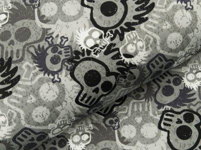 Angerauter Sweat - coole Totenschädel - grau/schwarz