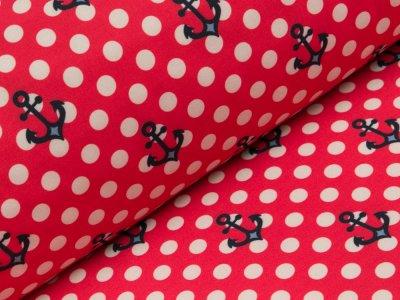 Jackenstoff Softshell - Anker und Punkte - rot