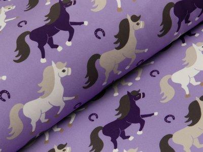 Jackenstoff Softshell - verschiedene Pferde - flieder