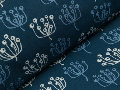 Jackenstoff Softshell - Pusteblumen - graublau