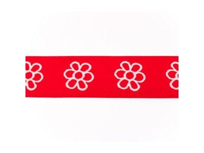 Gummiband ca. 40 mm - Blümchen - rot