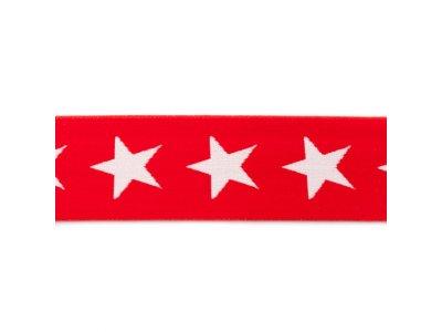 Gummiband ca. 40 mm - Sterne - rot
