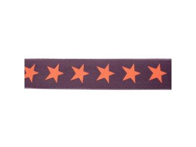 Gummiband ca. 40 mm - Sterne - dunkles grau/lachs