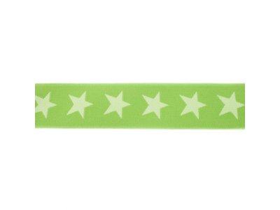 Gummiband ca. 40 mm - Sterne - dunkle lime/lime
