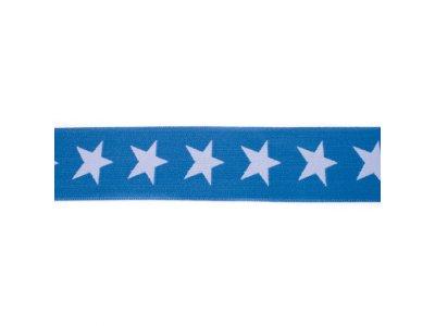 Gummiband ca. 40 mm - Sterne - jeans/blau