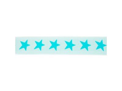 Gummiband ca. 40 mm - Sterne - mint/dunkles mint