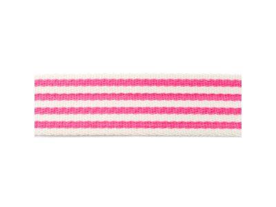 Gurtband ca. 40 mm - Streifen - natur/pink