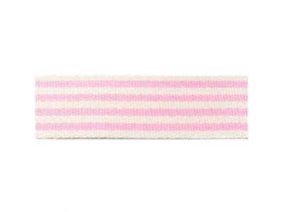 Gurtband ca. 40 mm - Streifen - natur/rosa