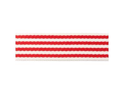 Gurtband ca. 40 mm - Streifen - natur/rot