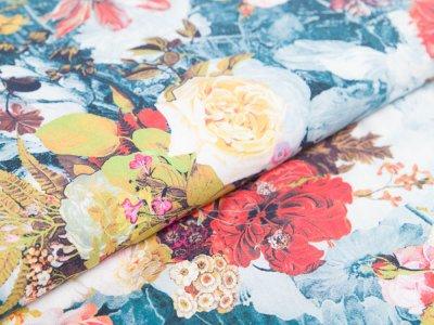 Viskose Digitaldruck - Rosella by Penelope - Blumenwiese - petrol