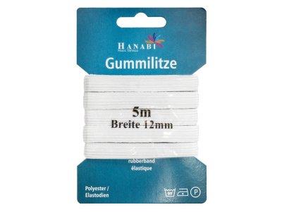 Gummilitze 12 mm - 5 m Coupon - weiß