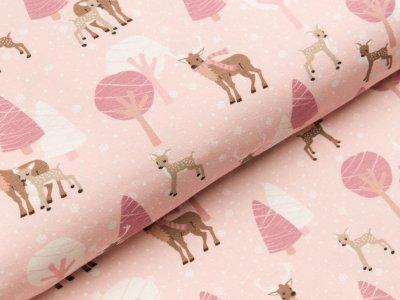 Jersey Hilco Wood Girls - Rehe - Hirsche und Bäume - rosa