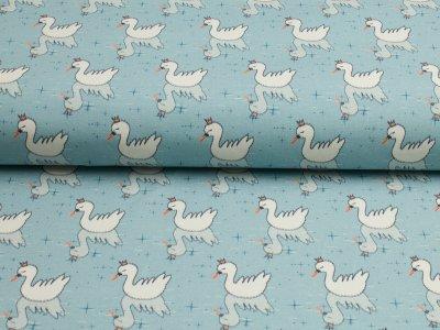 """Jersey Hilco """"Winter Swan"""" Schwäne helles graublau-weiß"""