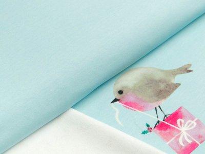 Sweat French Terry Hilco Winterland Panel ca. 58 x 150 cm - Vögel mit Geschenk und Christdornen - helles blau