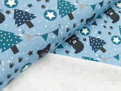 Sommersweat French Terry Hilco Raccoon Party - Waschbären im Winterwald - blau