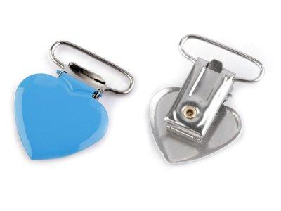 Hosenträgerclip/Schnullerkettenclip 2 Stück - Herz - blau
