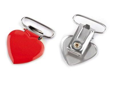 Hosenträgerclip/Schnullerkettenclip 2 Stück - Herz - rot
