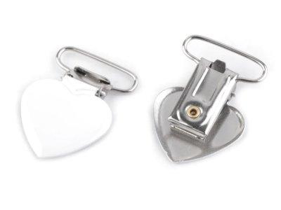 Hosenträgerclip/Schnullerkettenclip 2 Stück - Herz - weiß