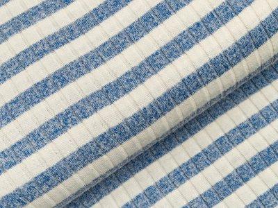Viskose Strick-Jersey - Querrippen und Streifen - weiß/blau