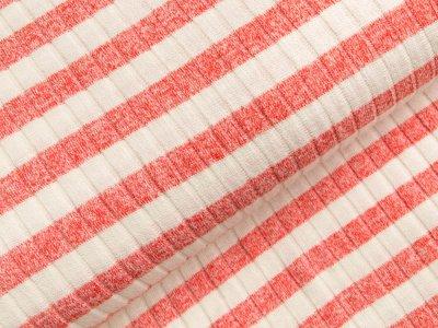 Viskose Strick-Jersey - Querrippen und Streifen - weiß/lachs