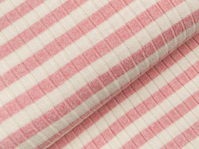 Viskose Strick-Jersey - Querrippen und Streifen - weiß/rosa