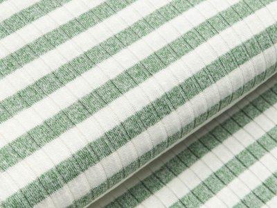 Viskose Strick-Jersey - Querrippen und Streifen - weiß/altgrün