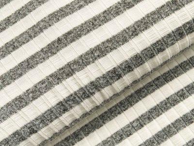 Viskose Strick-Jersey - Querrippen und Streifen - weiß/anthrazit