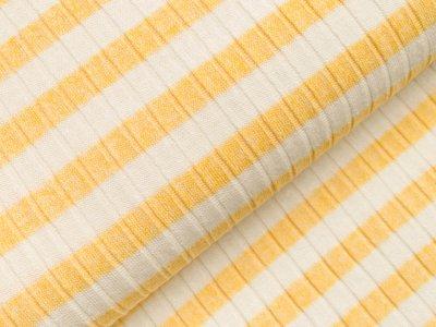 Viskose Strick-Jersey - Querrippen und Streifen - weiß/gelb