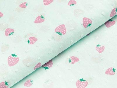 Gewebter Baumwollstoff - Erdbeeren - mint