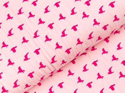 Gewebter Baumwollstoff - Vögel - rosa
