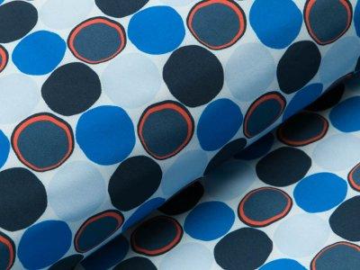 Jackenstoff Softshell Digitaldruck - Kreise - blau