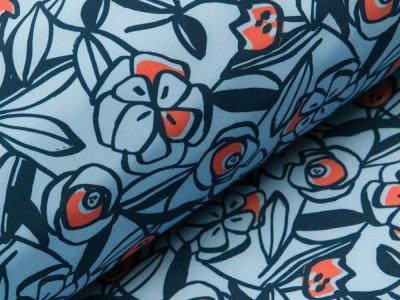 Jackenstoff Softshell Digitaldruck - verschiedene Blumen - blau